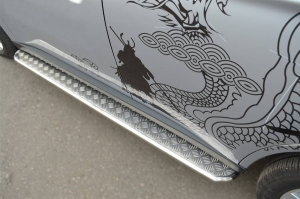 Mitsubishi Outlander 2012 Пороги труба d42 с листом MRT-001055